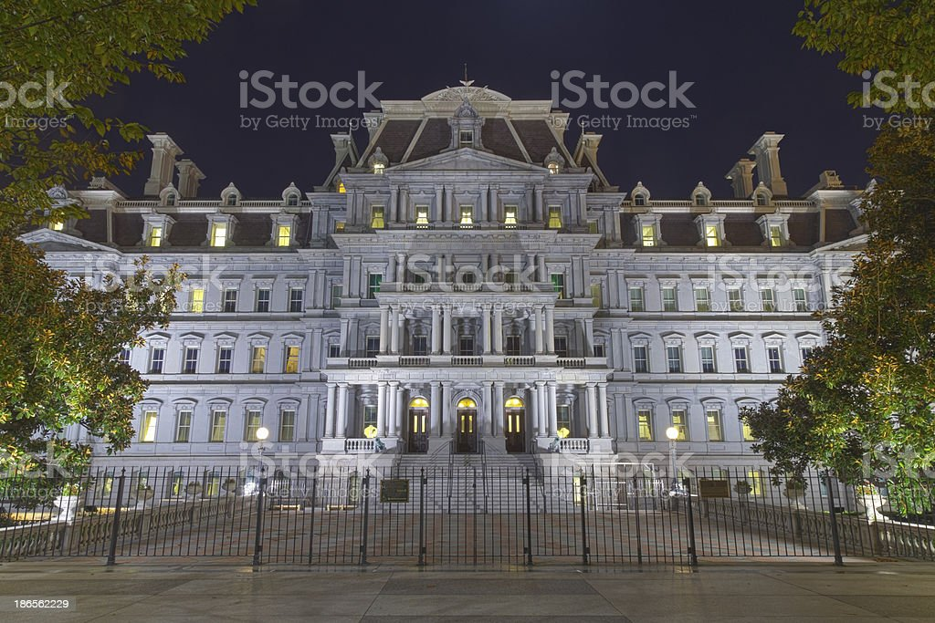 Eisenhower Administration Building at night stock photo
