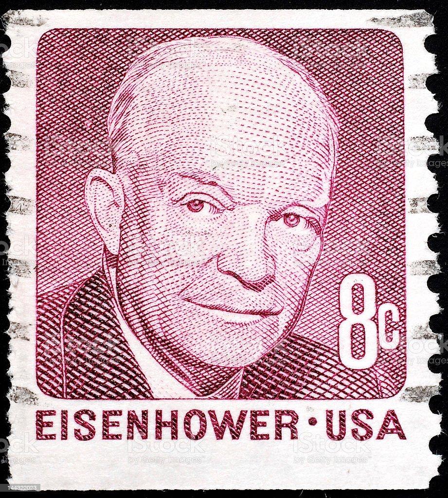 Eisenhower portrait on stamp royalty-free stock photo