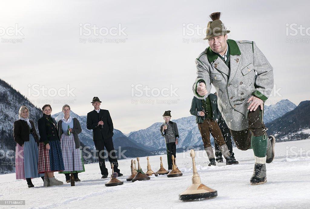 Eisstockschiessen, Curling on the Lake Grundlsee stock photo