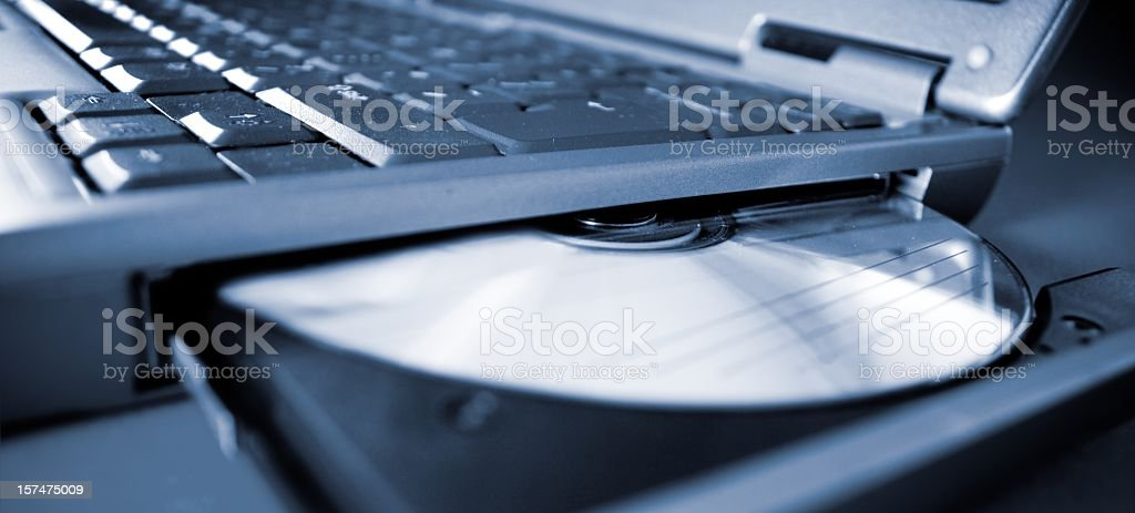 ejected dvd in laptop notebook royalty-free stock photo