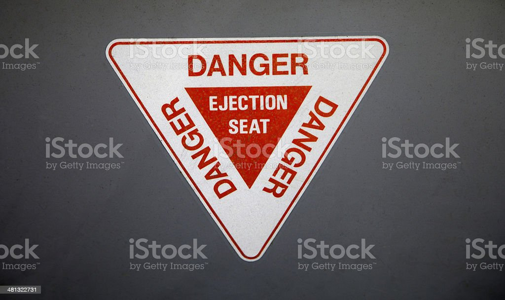 Ejector Seat warning sign stock photo