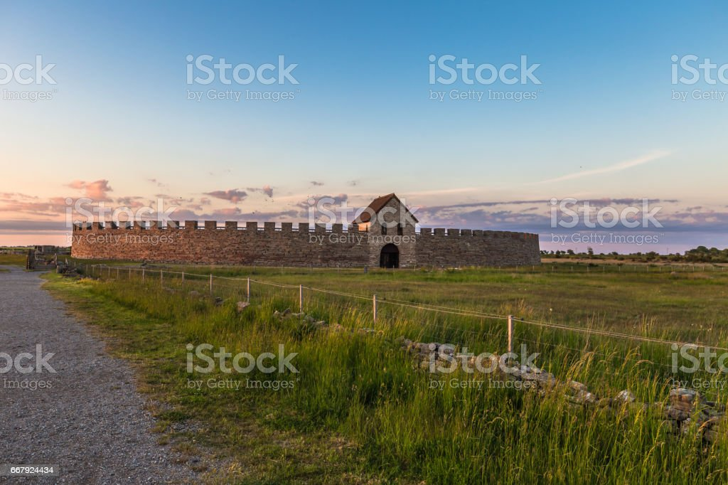Öland, Sweden - June 04, 2016: Eketorp Fort, Öland, Sweden stock photo