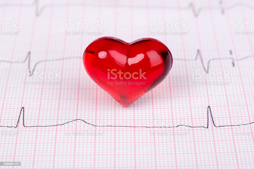 Ekg with heart stock photo