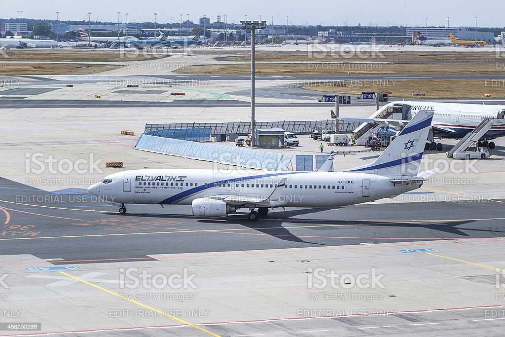 El Al Boeing 737 at Frankfurt Airport royalty-free stock photo