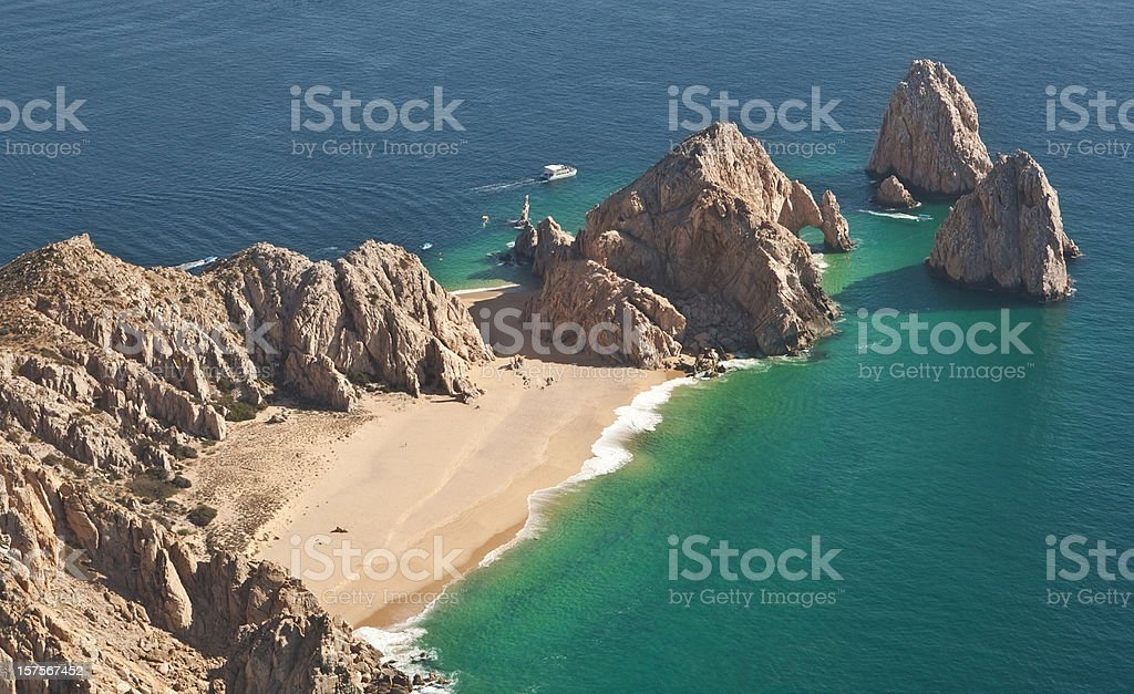 El Arco and Lover's Beach Aerial View stock photo