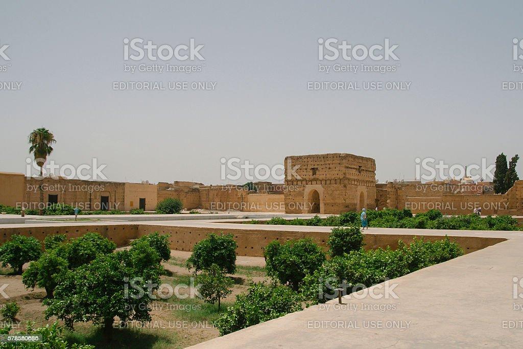 El Badi Palace gardens at Marrakech, Morocco stock photo
