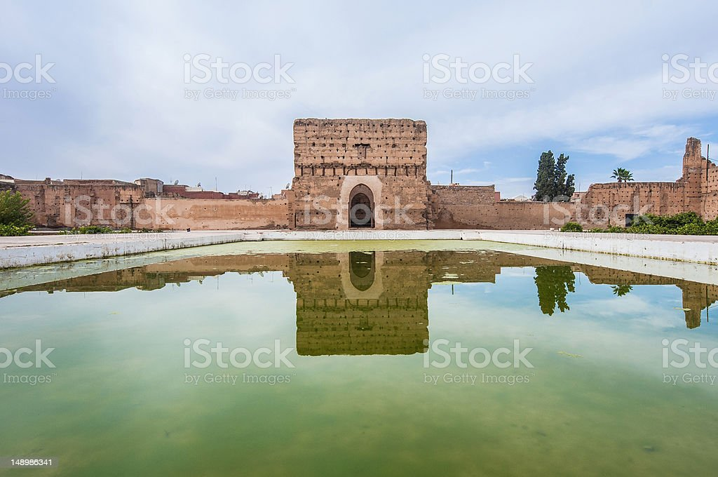 El Badi Palace Pavilion at Marrakech, Morocco stock photo