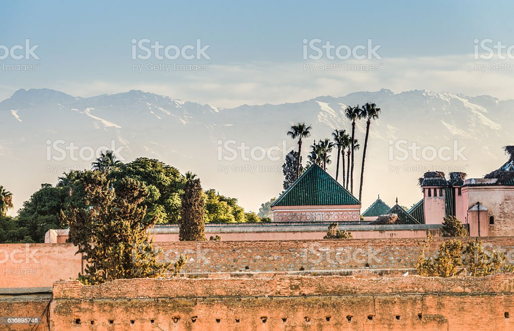 El Badi Palace ruins, Marrakech, Morocco stock photo