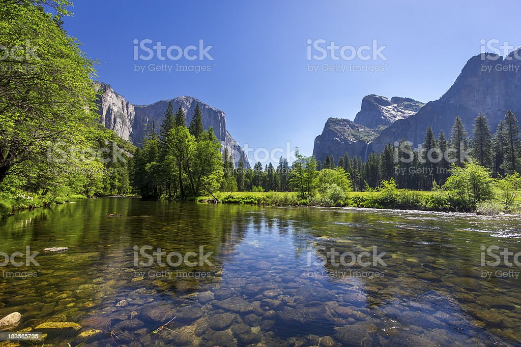 El Capitan and Lower Falls royalty-free stock photo