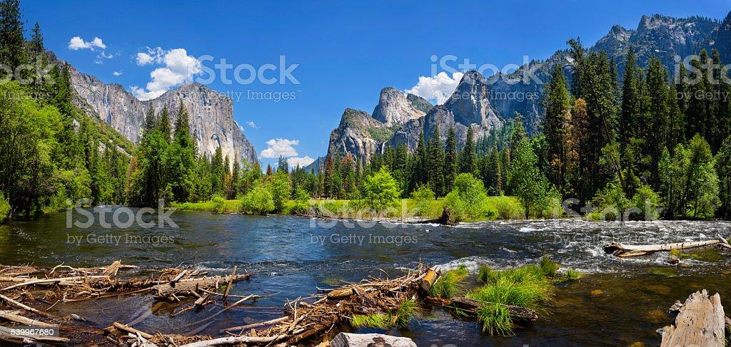 El Capitan and Merced River Panorama stock photo