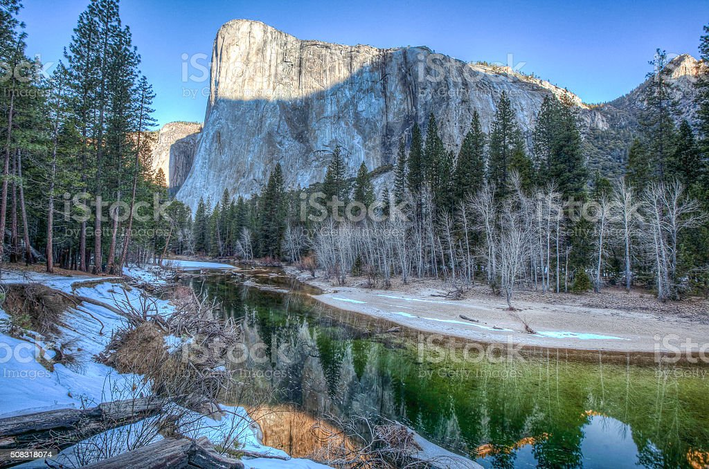 El Capitan at sunrise from Cathedral Beach Yosemite National Park stock photo