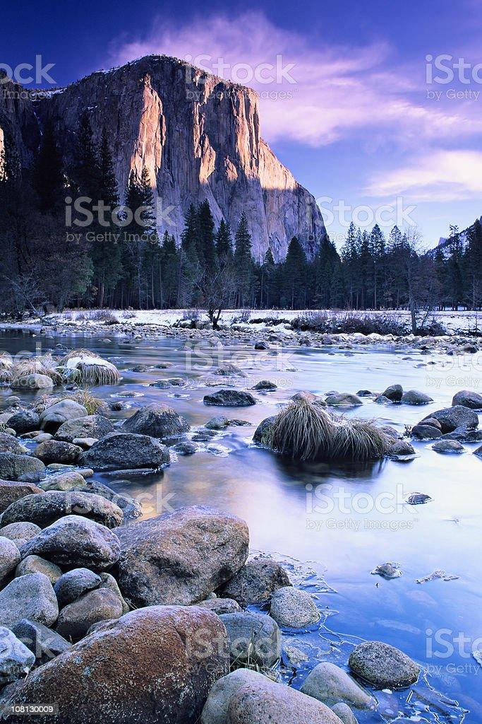 El Capitan Mountain at Sunset stock photo