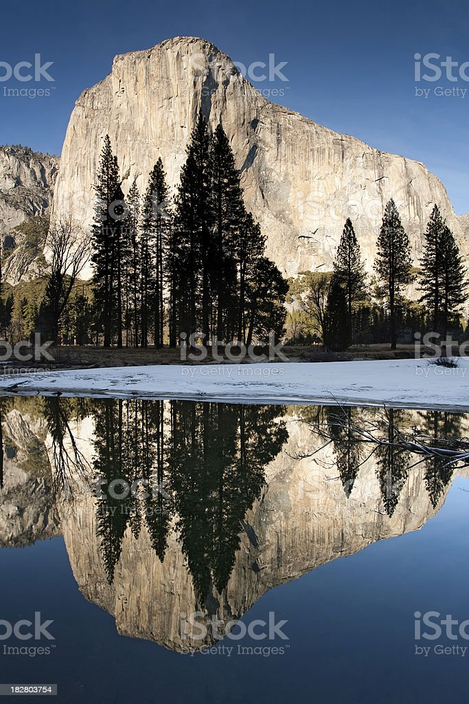 El Capitan Reflections with Tree Silhouettes royalty-free stock photo