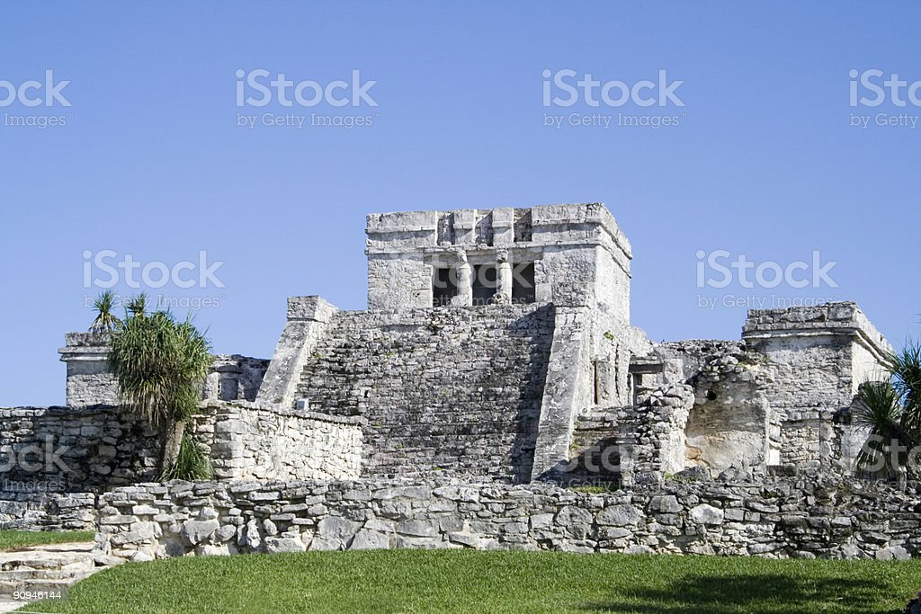 El Castillo - ancient Mayan structure Tulum Mexico royalty-free stock photo