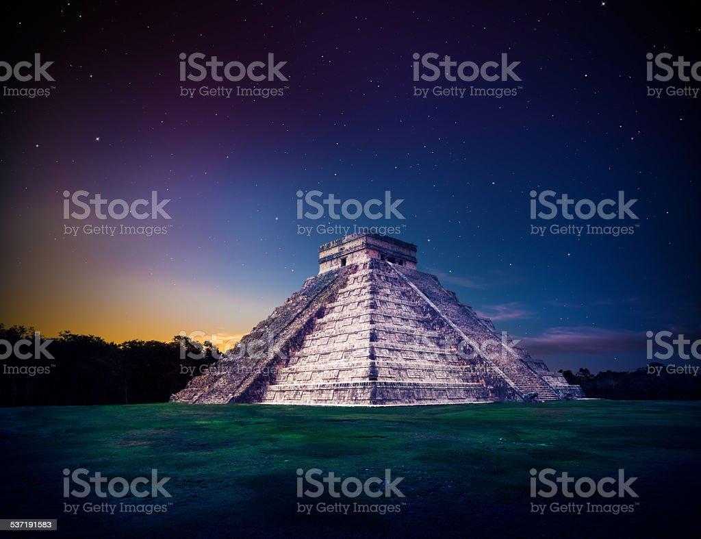 'El Castillo' pyramid in Chichen Itza, Yucatan, Mexico, at night stock photo