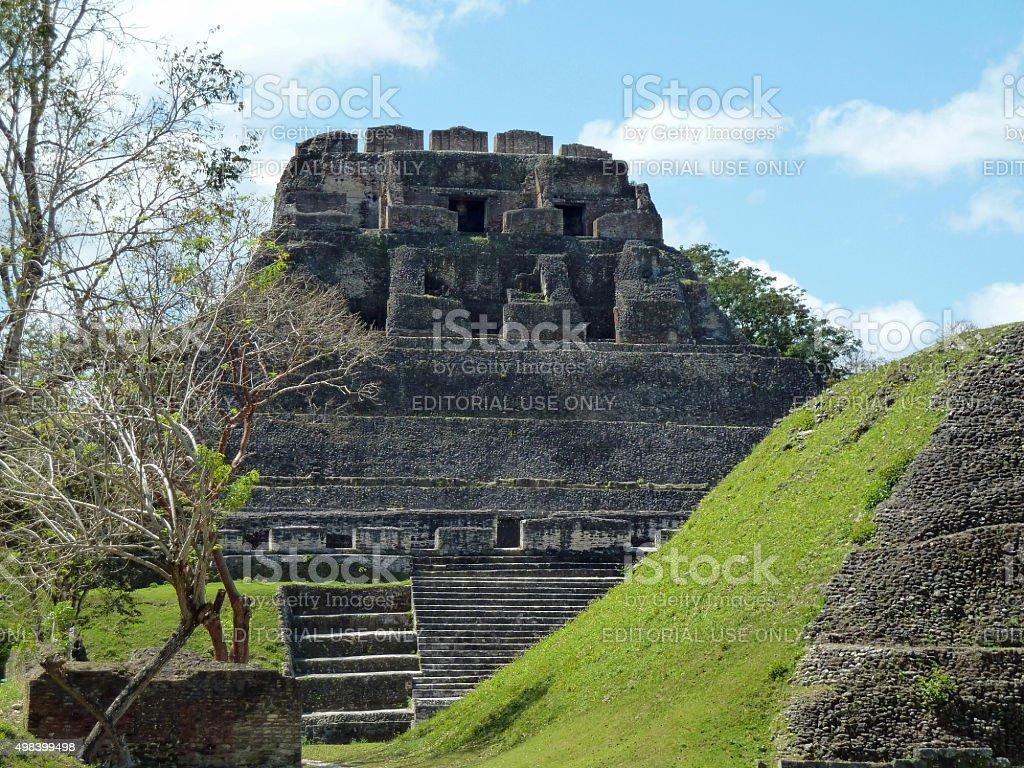 El Castillo pyramid in the Xunantunich Maya ruins stock photo