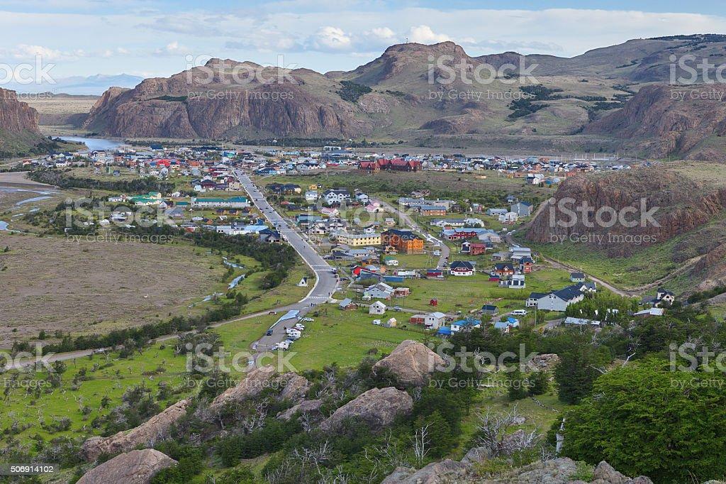 El Chalten at the base of Fitz Roy mountains, patagonia stock photo