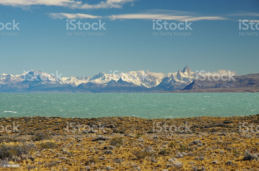 El Chaltén seen from the east side of Viedma lake stock photo