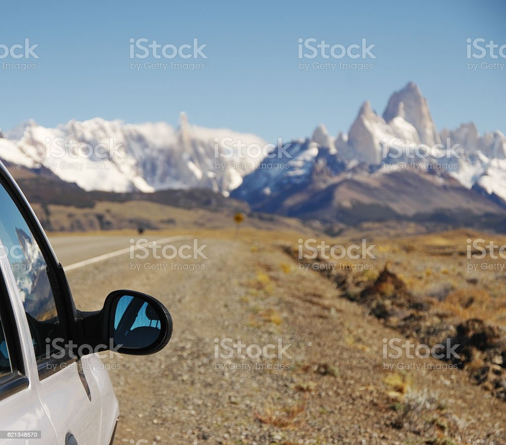 El Chaltén seen from the route stock photo