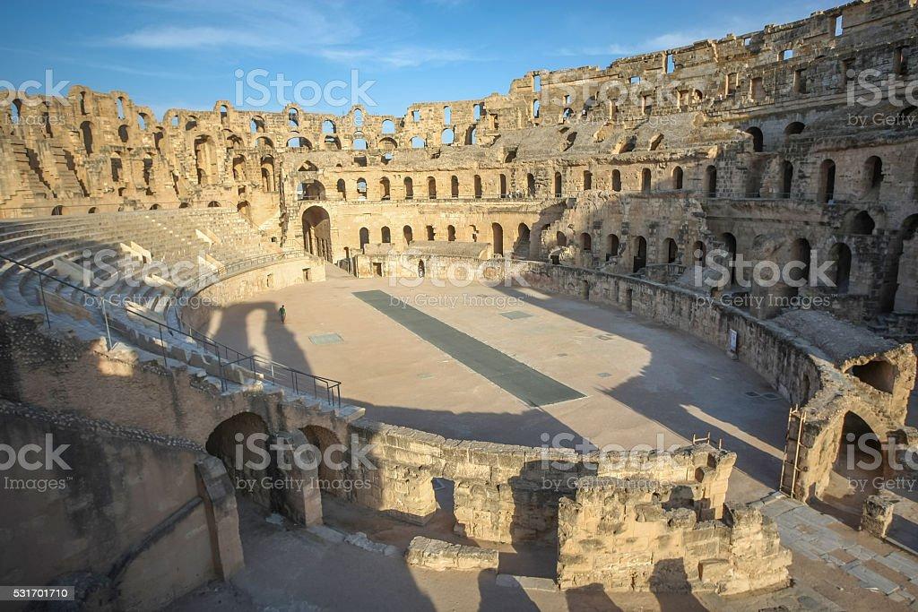 El Djem Amphitheatre at sunset stock photo