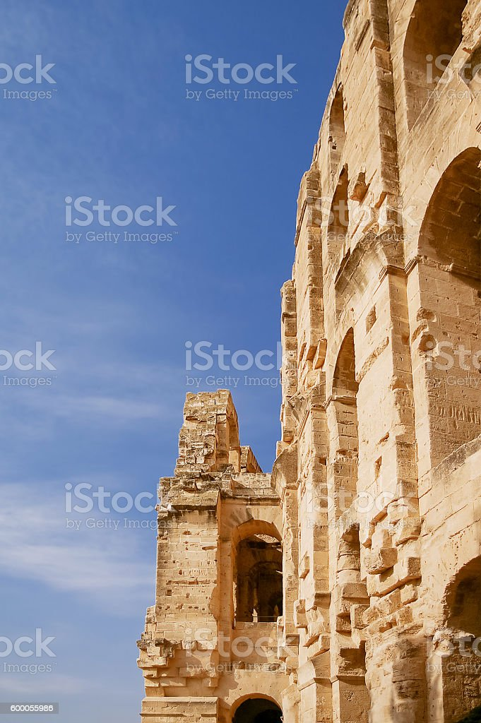 El Djem amphitheatre, Tunisia. stock photo