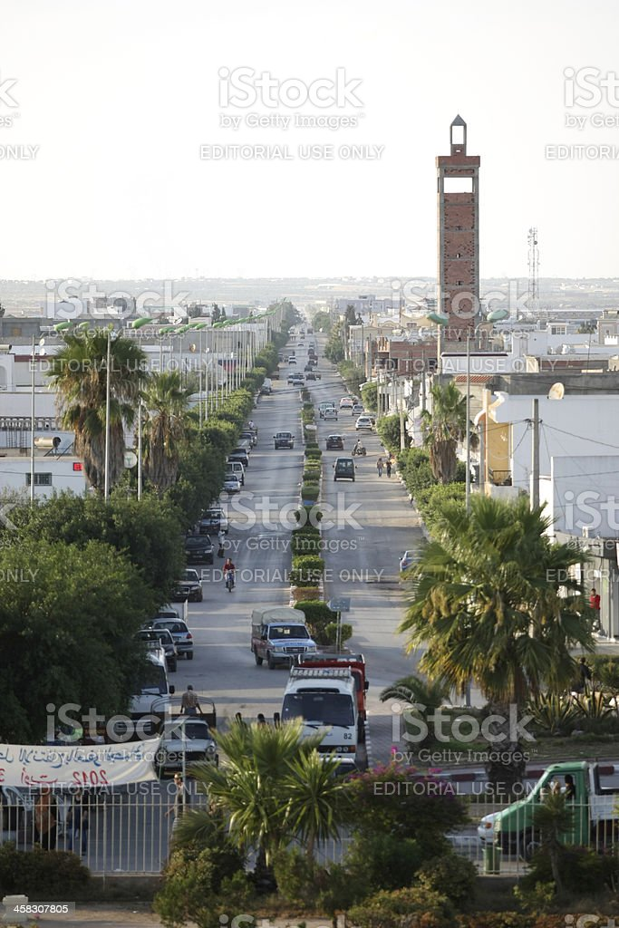 El Djem, Tunisia, City main street royalty-free stock photo