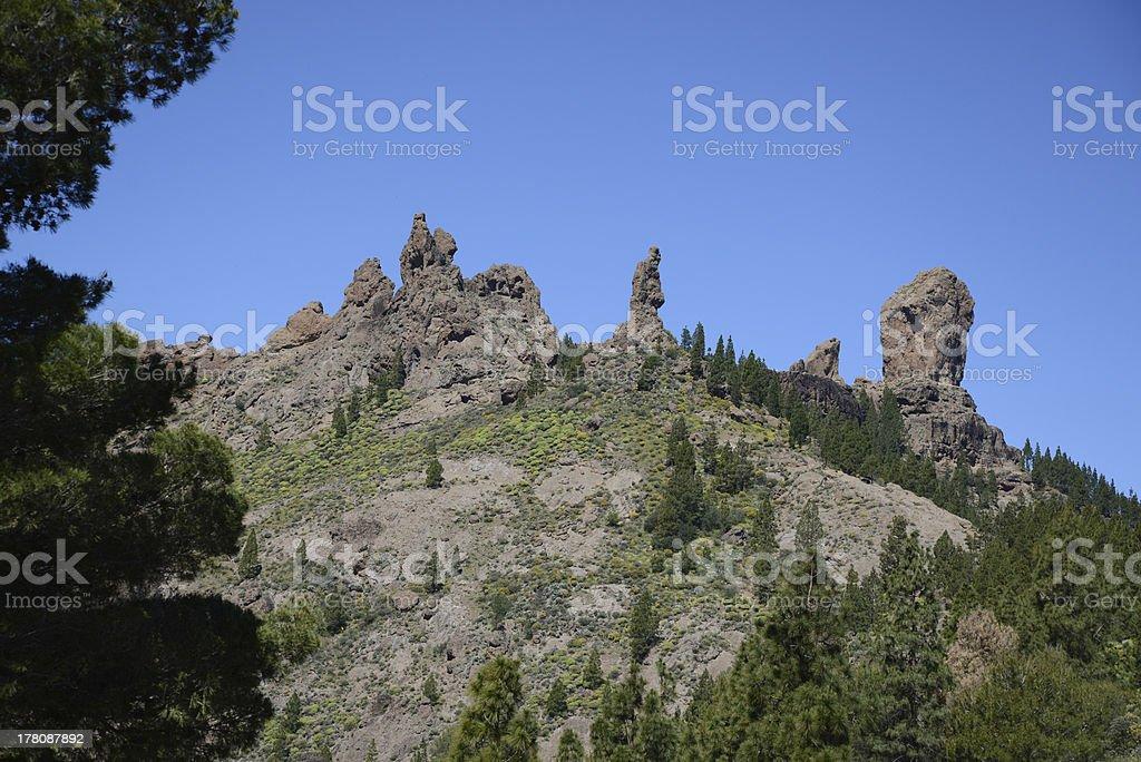 El Fraile and Roque Nublo, Gran Canaria royalty-free stock photo