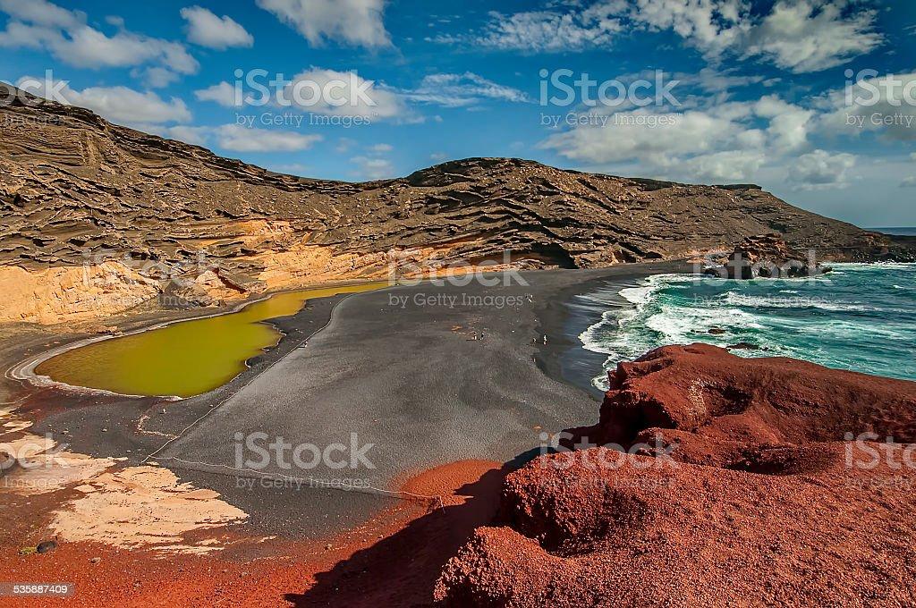 El Golfo bay, Western Lanzarote, Canary islands, Spain stock photo