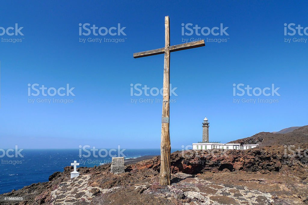 El Hierro - Cross at the lighthouse Faro de Orchilla royalty-free stock photo