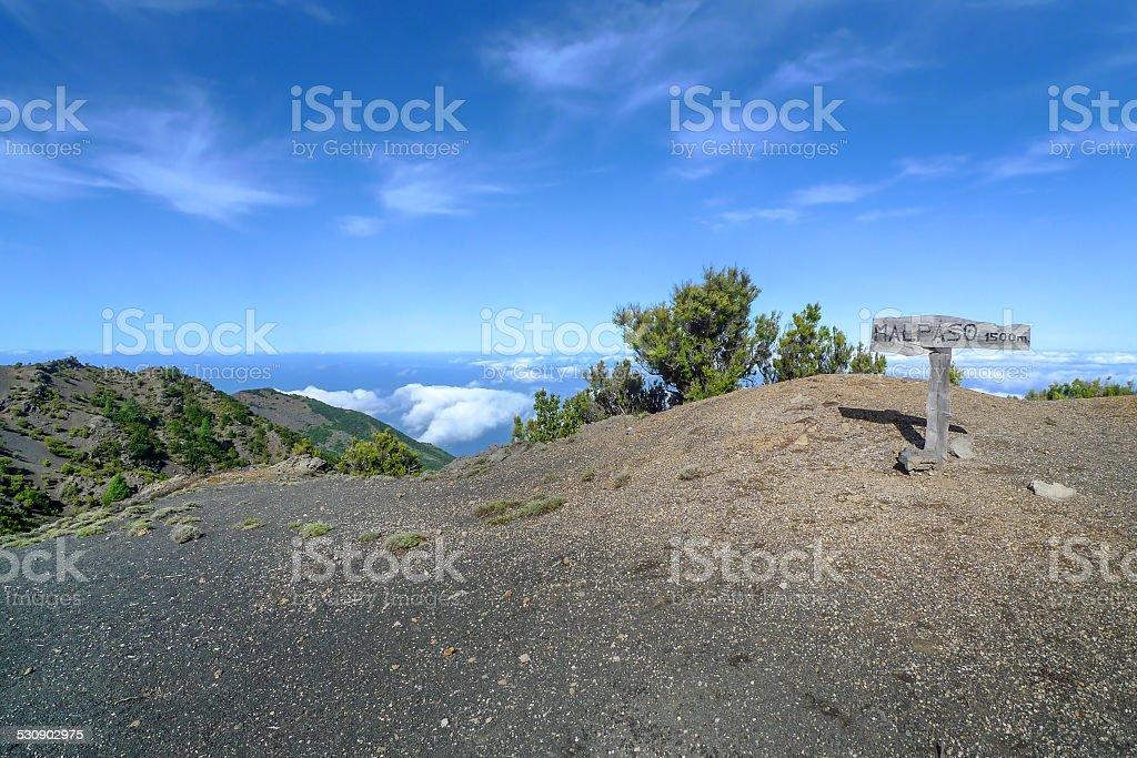 El Hierro - Sign on the peak of Malpaso royalty-free stock photo