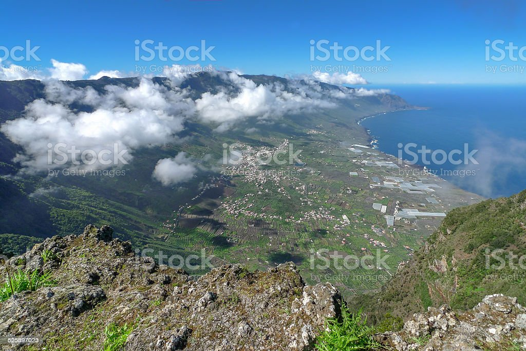El Hierro - View down into the El Golfo valley royalty-free stock photo
