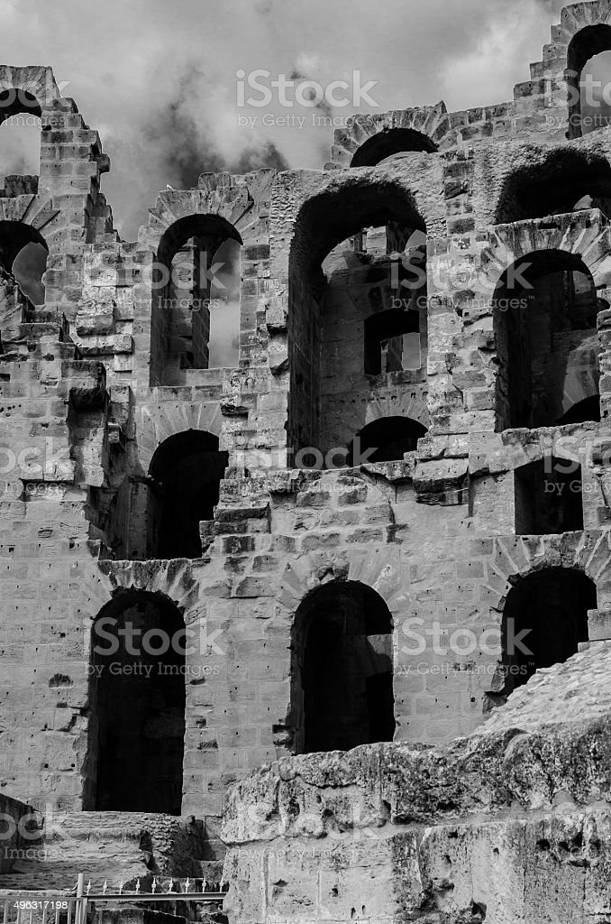 El Jem amphiteater's arches stock photo