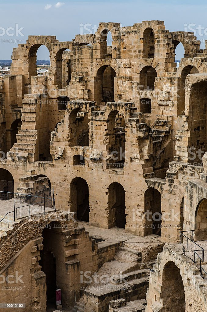 El Jem amphitheater's arches stock photo