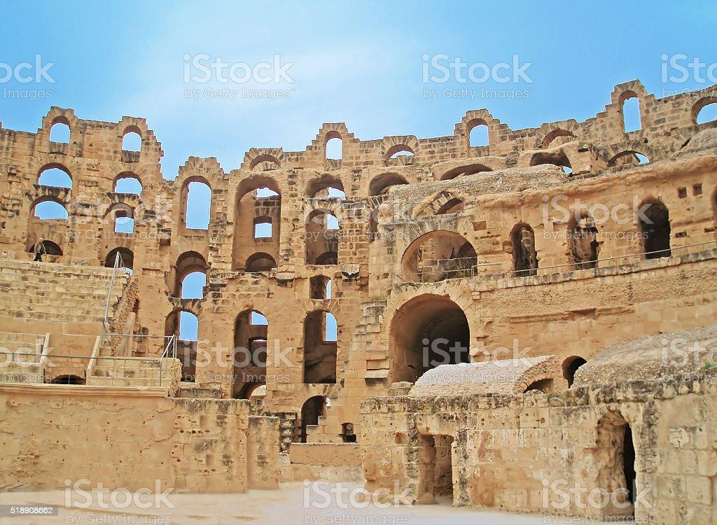 El Jem Colosseum, Tunisia stock photo
