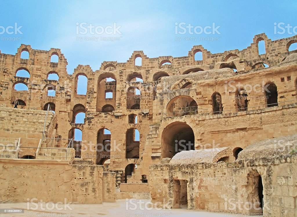 El Jem Colosseum, Tunisia stock photo