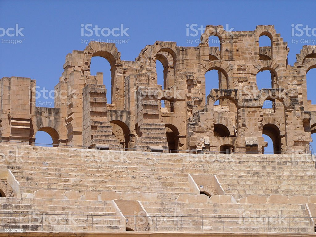 El Jem Colosseum Walls Detail in Tunisia stock photo