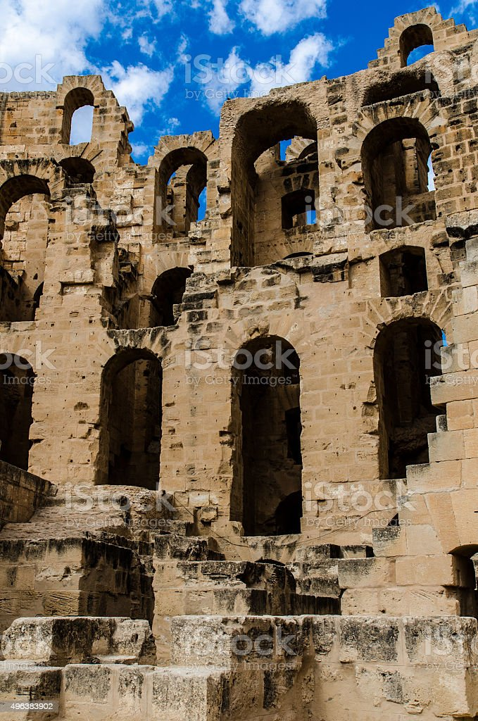 El Jem ruins stock photo