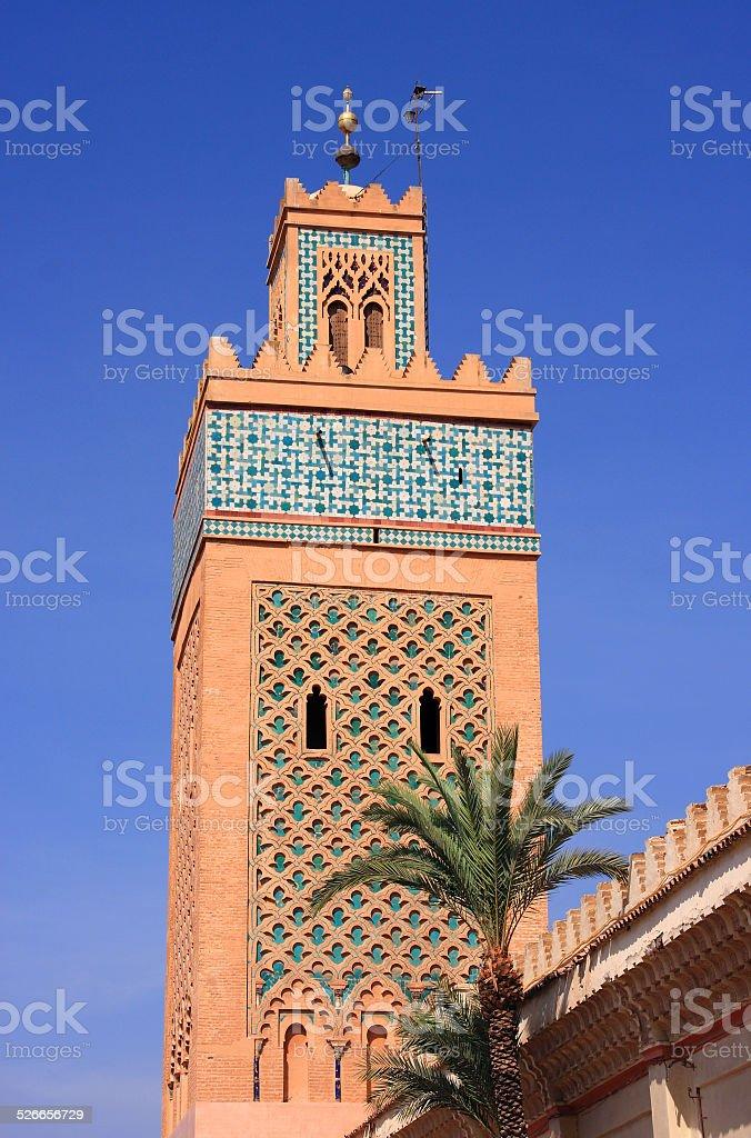El Mansour Mosque minaret, Marrakesh, Morocco stock photo