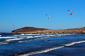 El Medano kitesurfing beach in south coast of Tenerife,