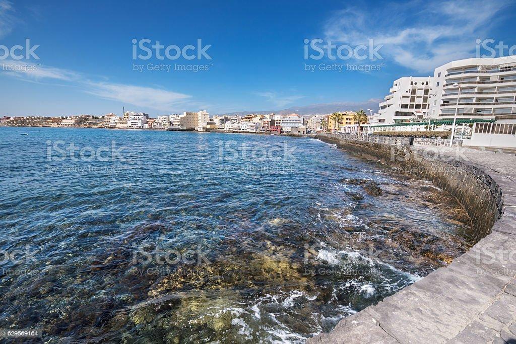 El Medano shoreline, in Tenerife, Canary island, Spain. stock photo