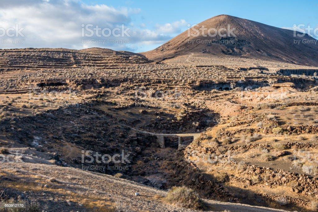 el mojon lanzarote volcano river stock photo