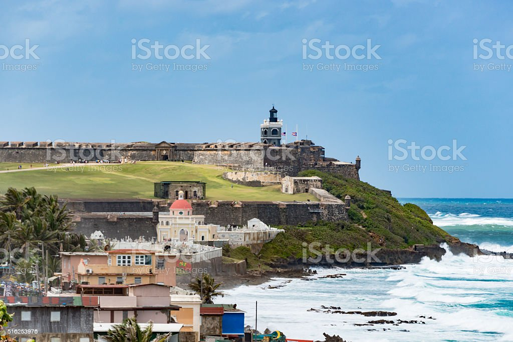 El Morro Castle and Old San Juan Cemetery, Puerto Rico stock photo
