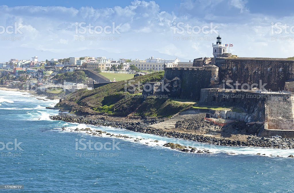El Morro Castle in San Juan, Puerto Rico on a clear day stock photo
