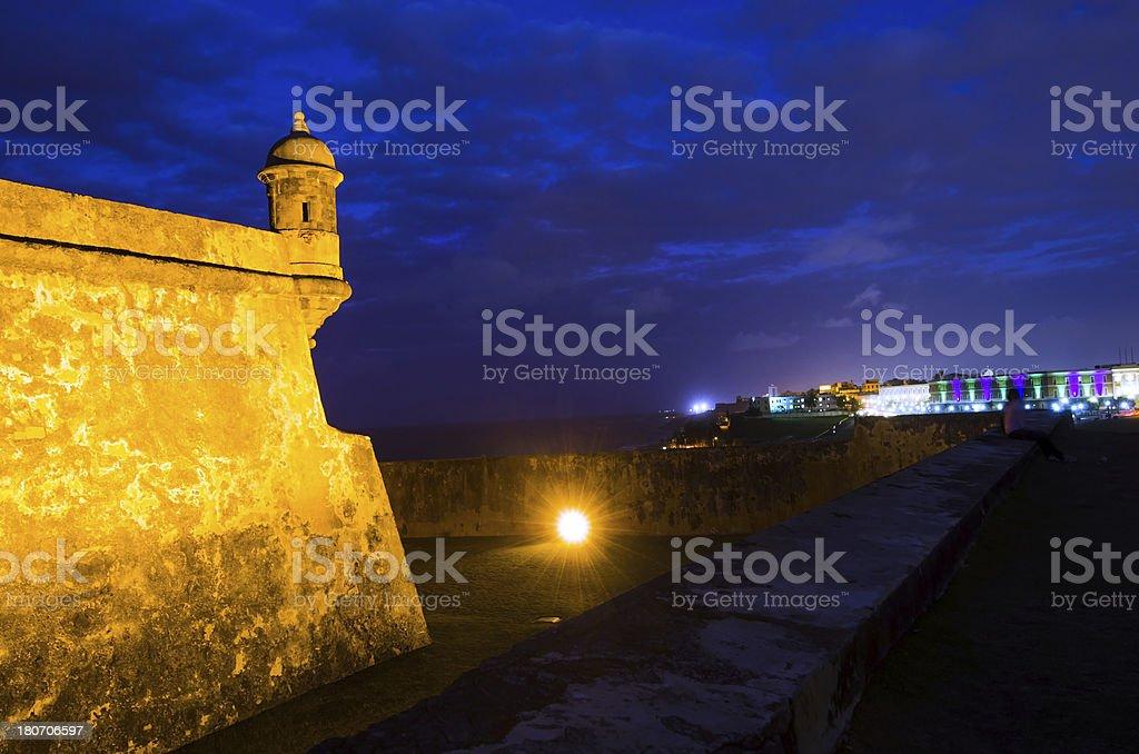 El Morro in Old San Juan, Puerto Rico at night stock photo