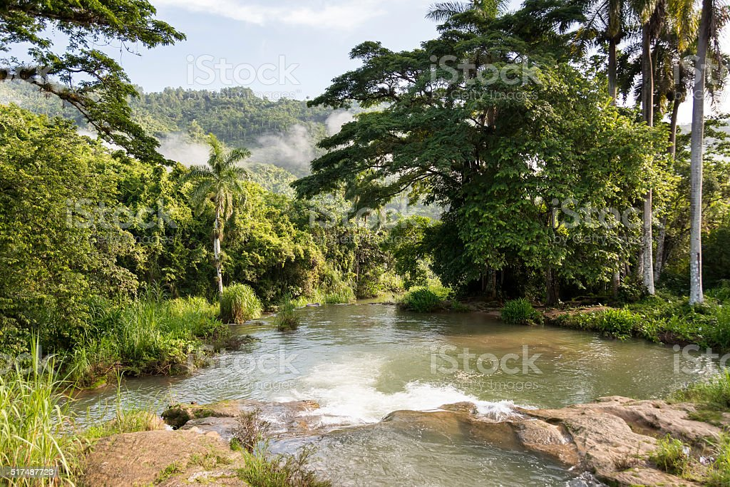 El Nicho Waterfalls in Cienfuegos, Cuba stock photo