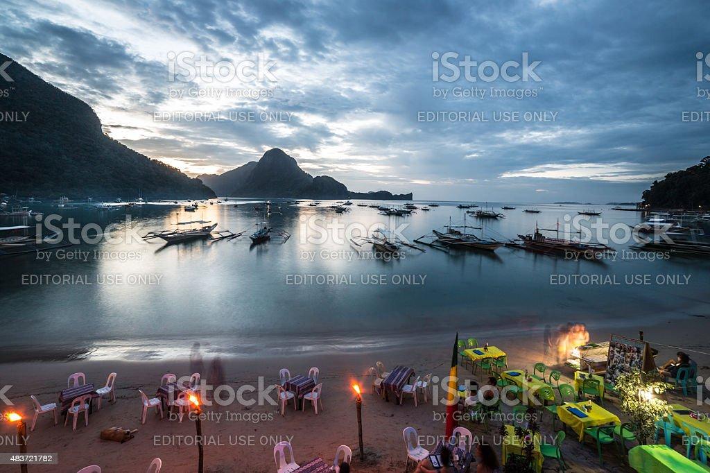 El Nido beach bars, Palawan stock photo