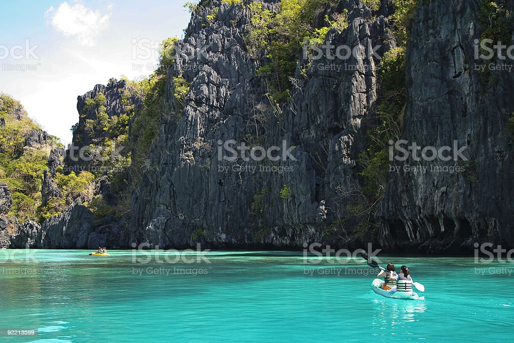 el nido kayak adventure holiday philippines stock photo