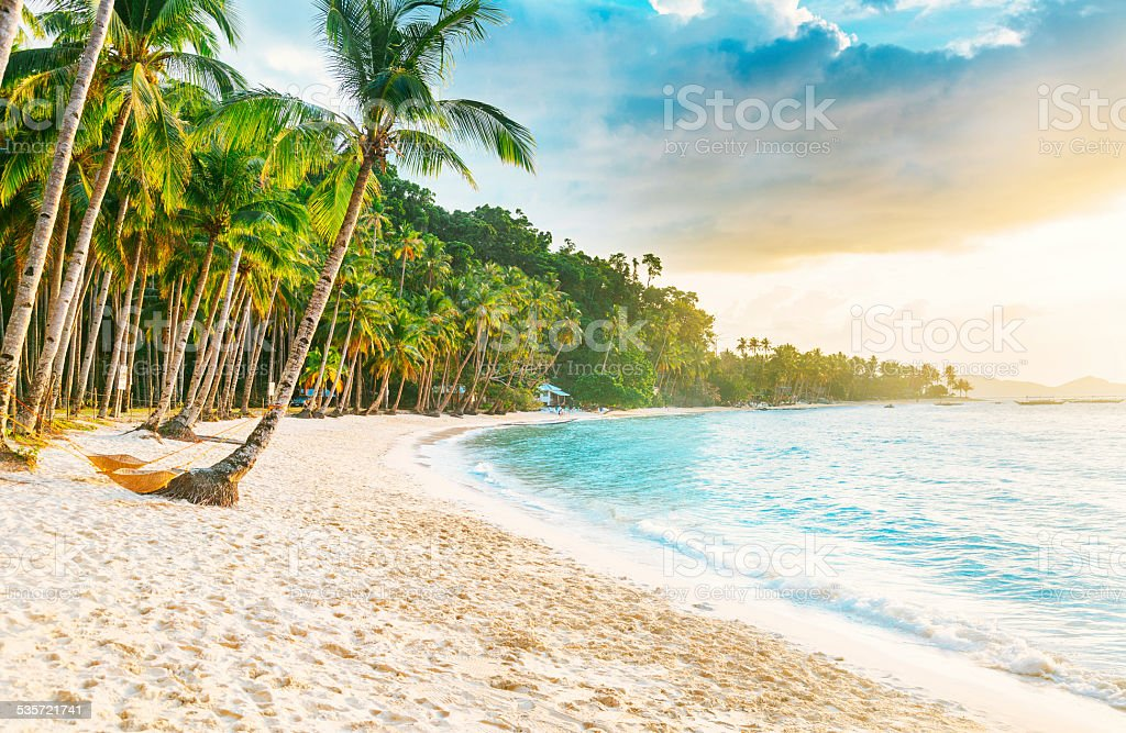 El Nido - Las Cabanas beach stock photo