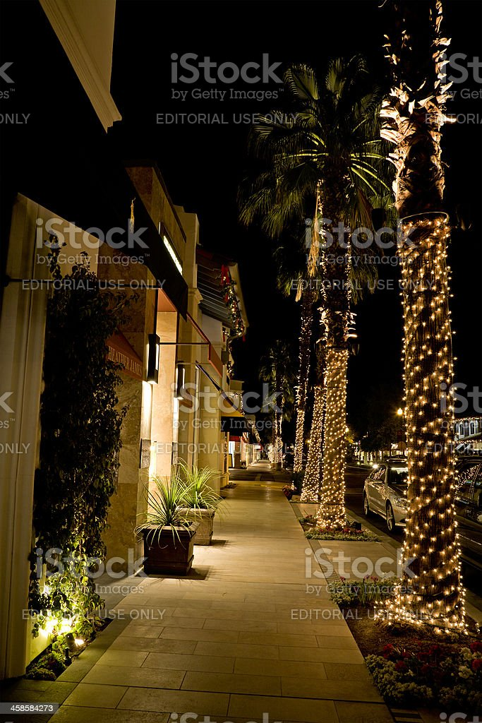 El Paseo Palm Desert Decorated For Christmas stock photo
