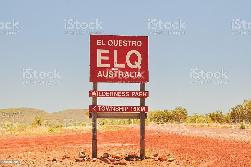 El Questro welcome sign stock photo